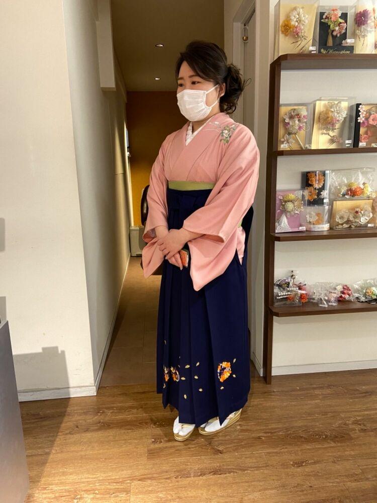 矢島美容室西荻窪店の訪問着&卒業袴のフルレンタル&ヘアメイク★保育園の先生なので落ち着いたピンクで