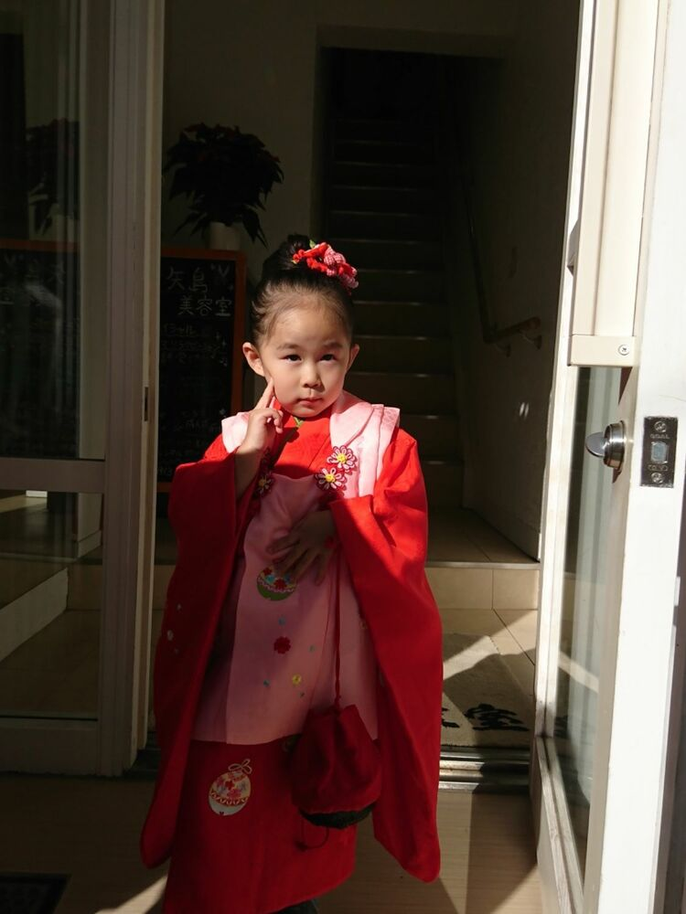 七五三の3歳お団子風シンプルアップ
