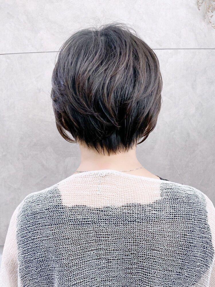 丸みショート×毛先ワンカールデジタルパーマ