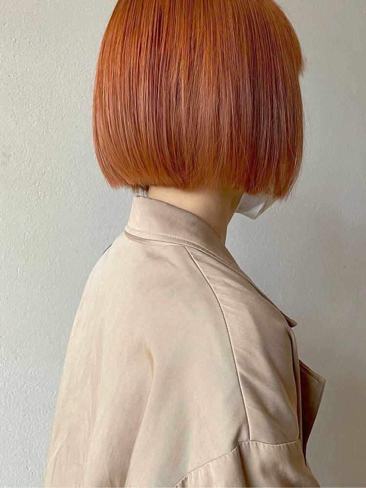 ペールオレンジのミニボブ