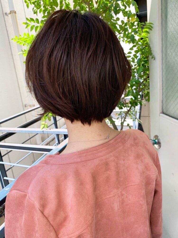 自由が丘 駅徒歩2分 アフロート 添田 大人のオフィスショート 黒髪 暗めカラー