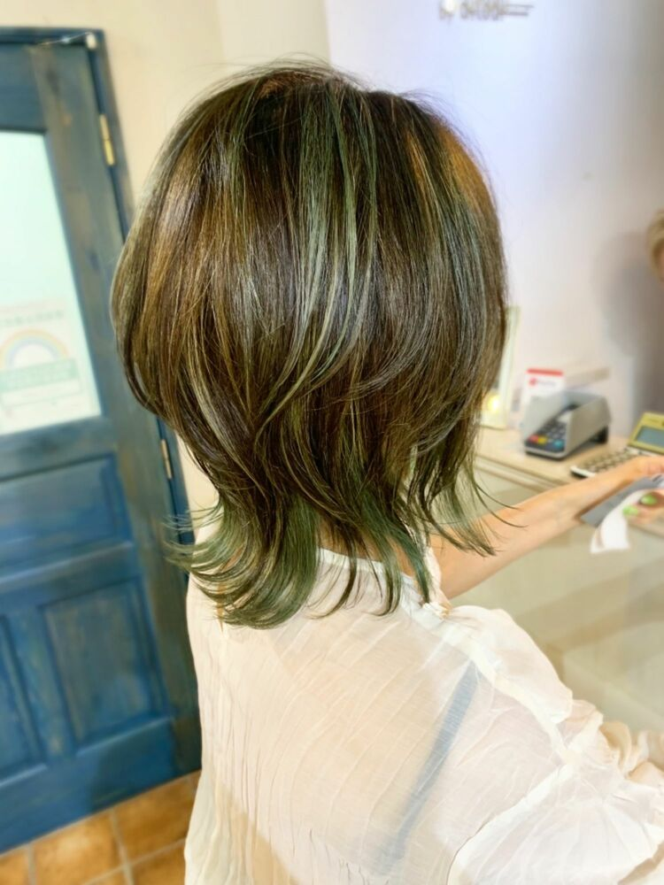 【ウルフ】白髪もカバーできちゃうハイライト!似合わせ小顔カット。マリアバイアフロート  添田