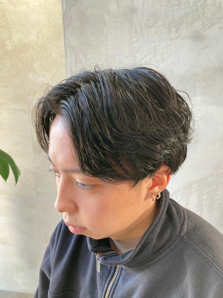 前下がりマッシュ × パーマ(緩め)
