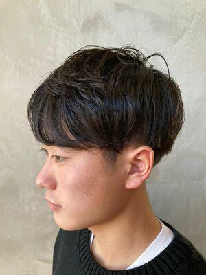 くせ毛風パーマ(ゆるめ)× ショートマッシュ