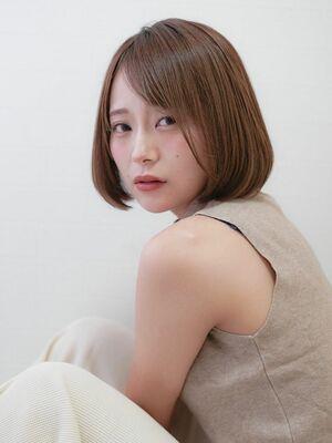 テリちゃん風小顔ワンカールボブ★ナチュラル透明感カラー