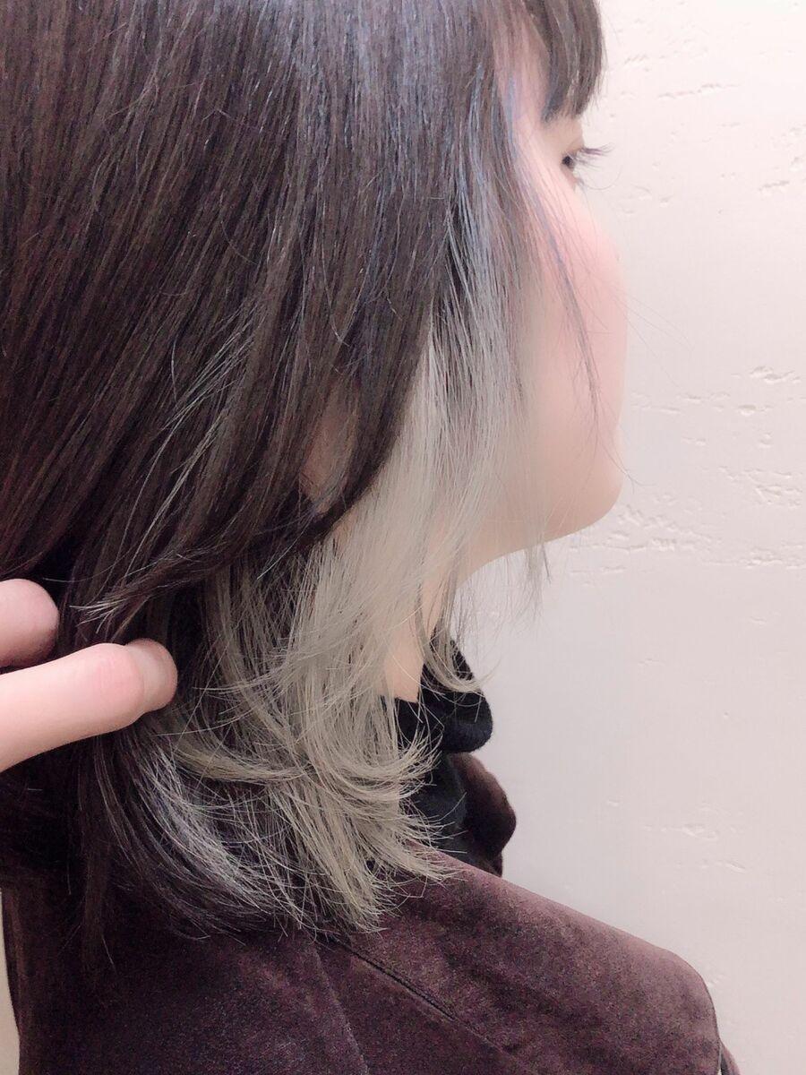 インナーカラー×ホワイトベージュ◎