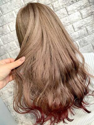 モカベージュ ワインレッド 裾カラー