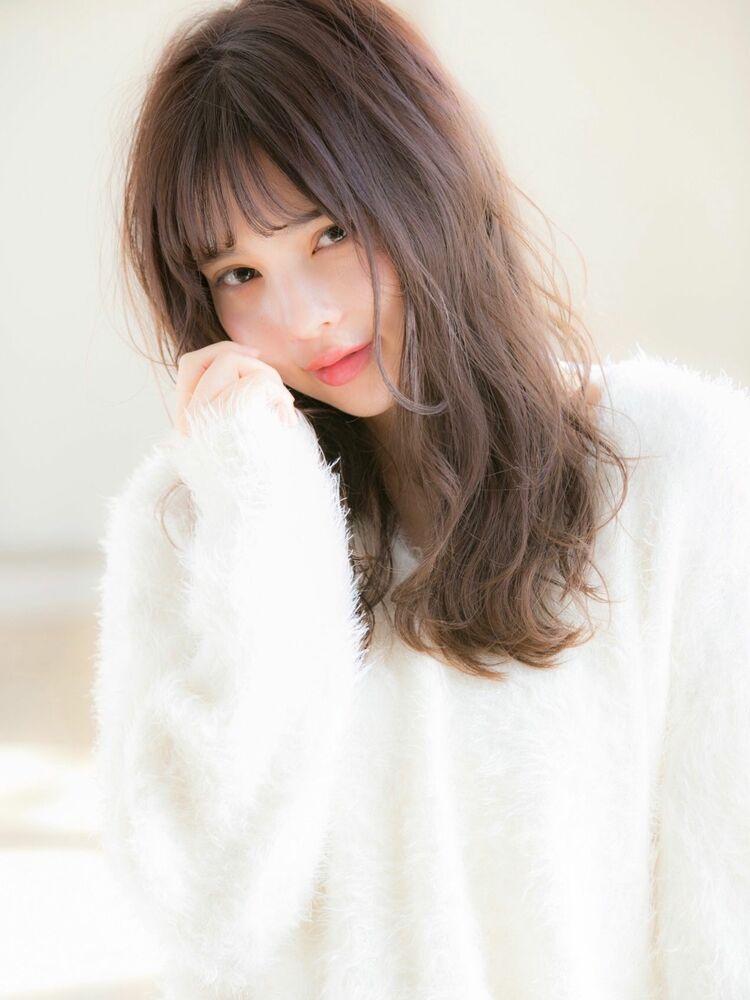 20代30代☆大人かわいい小顔mixウェーブシースルーバング♪担当 戸田