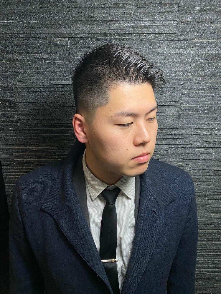 かきあげ前髪×フェード