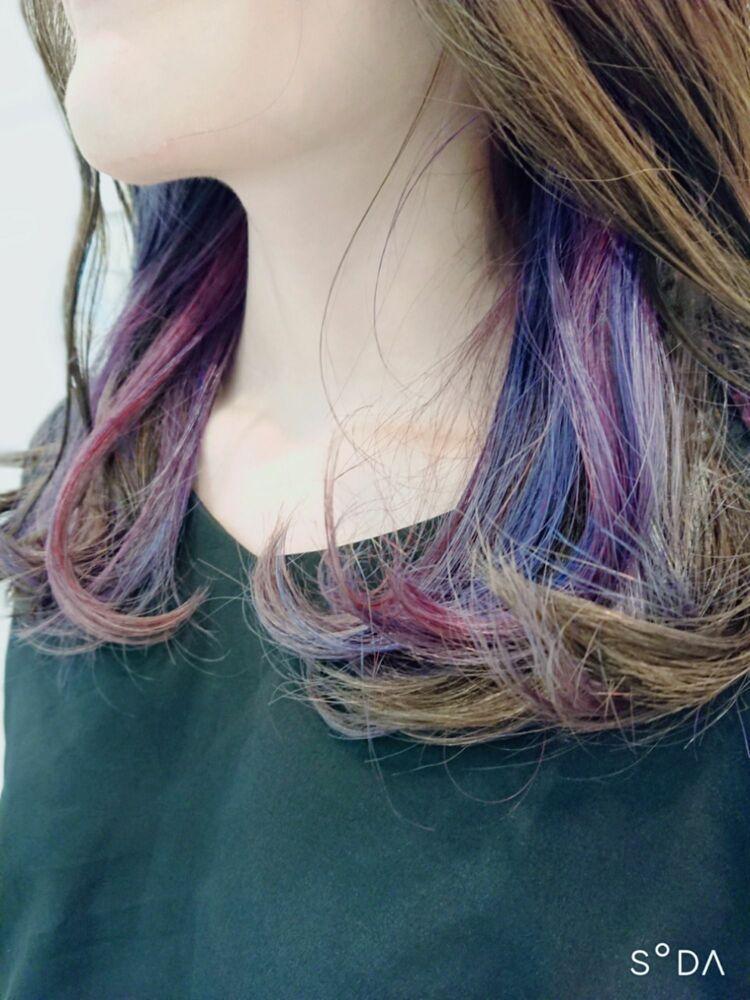 いつものロングに鮮やかな虹をかけて✂️