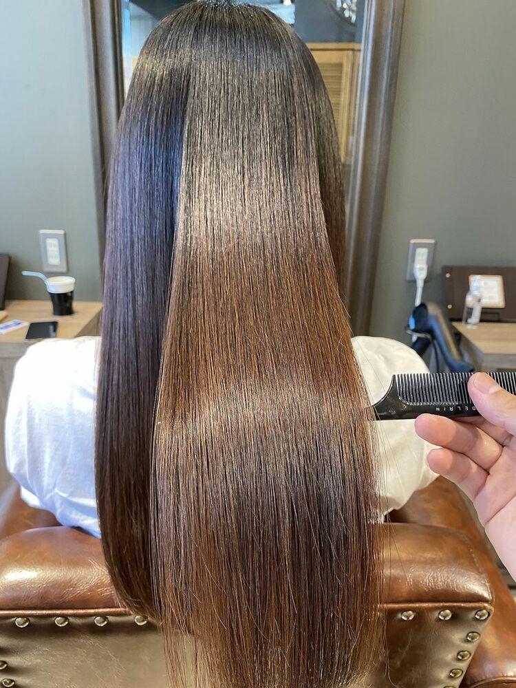 レッドブラウン ストレート 艶髪 サラサラ
