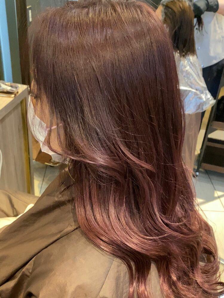 ローズ ピンク 巻き髪 韓国風 外巻き