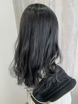 暗髪✨セピアグレージュ×セミロング