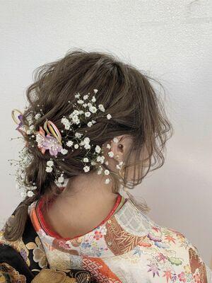 かすみ草×編みおろしスタイル