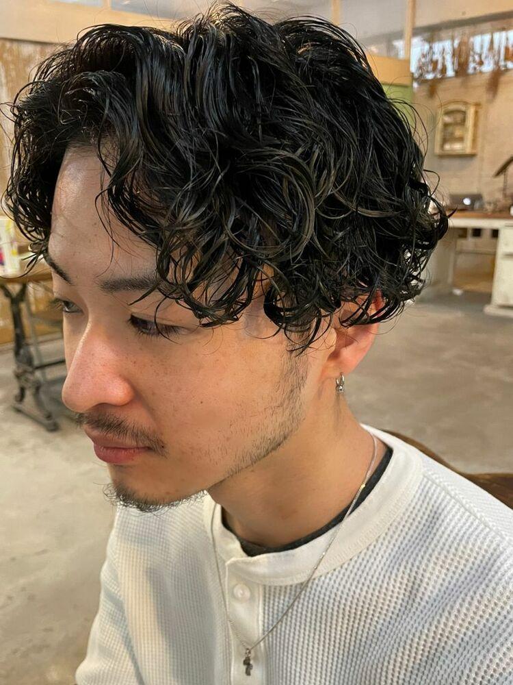南堀江 メンズ King gnu 常田さん風 スパイラルパーマ