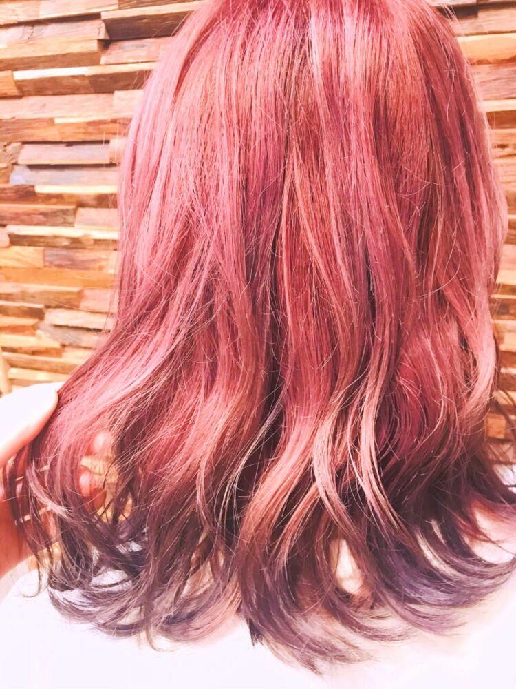 裾カラー×ピンク×バイオレット