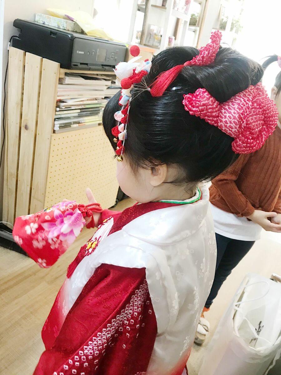 キッズ日本髪と着付け3歳
