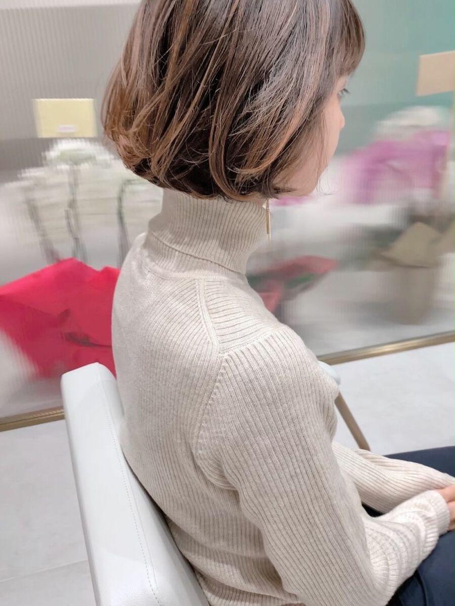 BCG銀座駅から徒歩4分 ネイビーマニッシュフレンチボブ美髪ケアカラー30代40代◎田邊