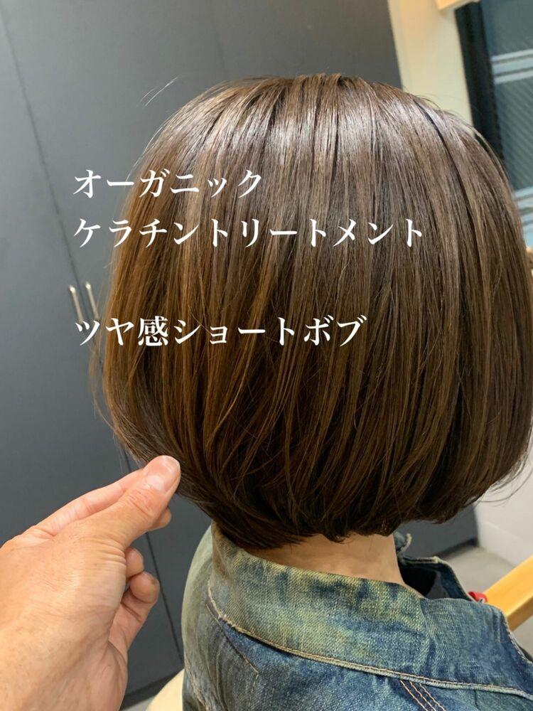 全体的ツヤ髪ショートボブ
