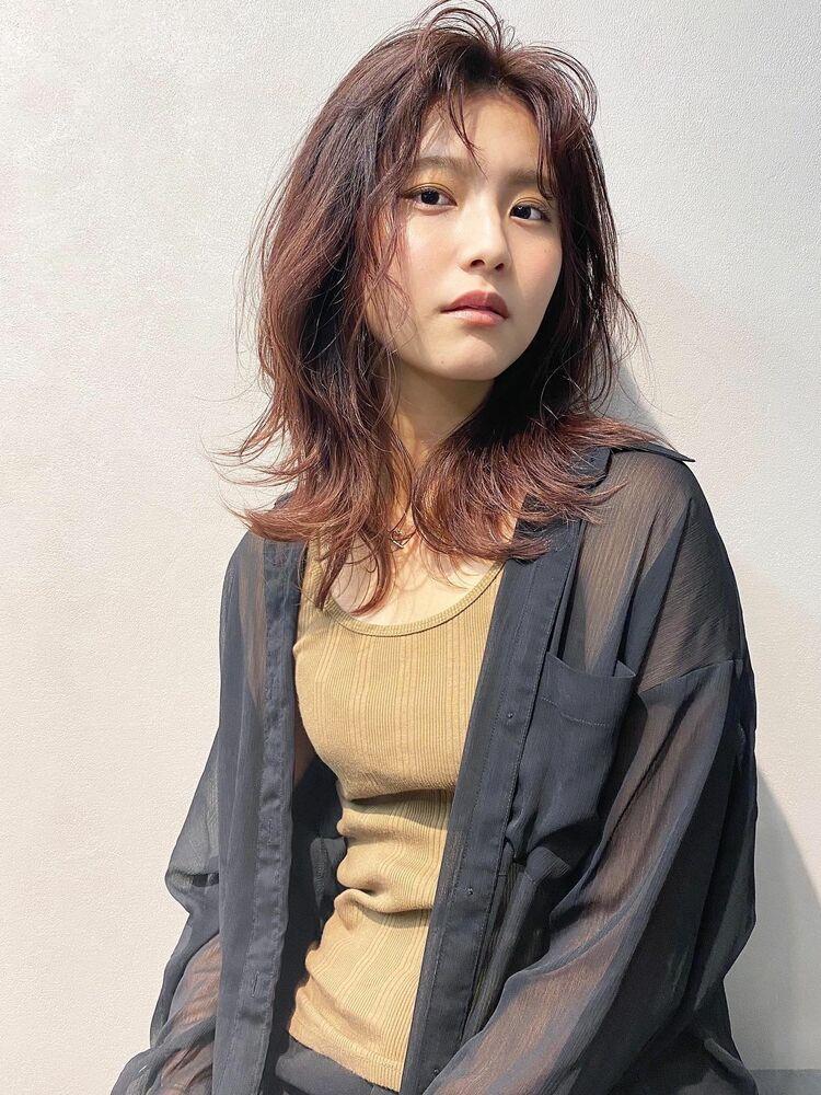 博多の髪質改善サロン!2020年人気のレイヤーカット×色落ちしにくいピンクブラウンカラー。