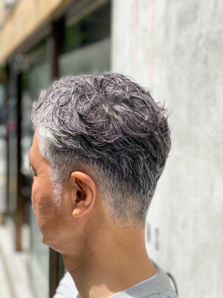 ✂︎白髪を活かす七三ツーブロックパーマ✂︎ 誰でも簡単10秒セット