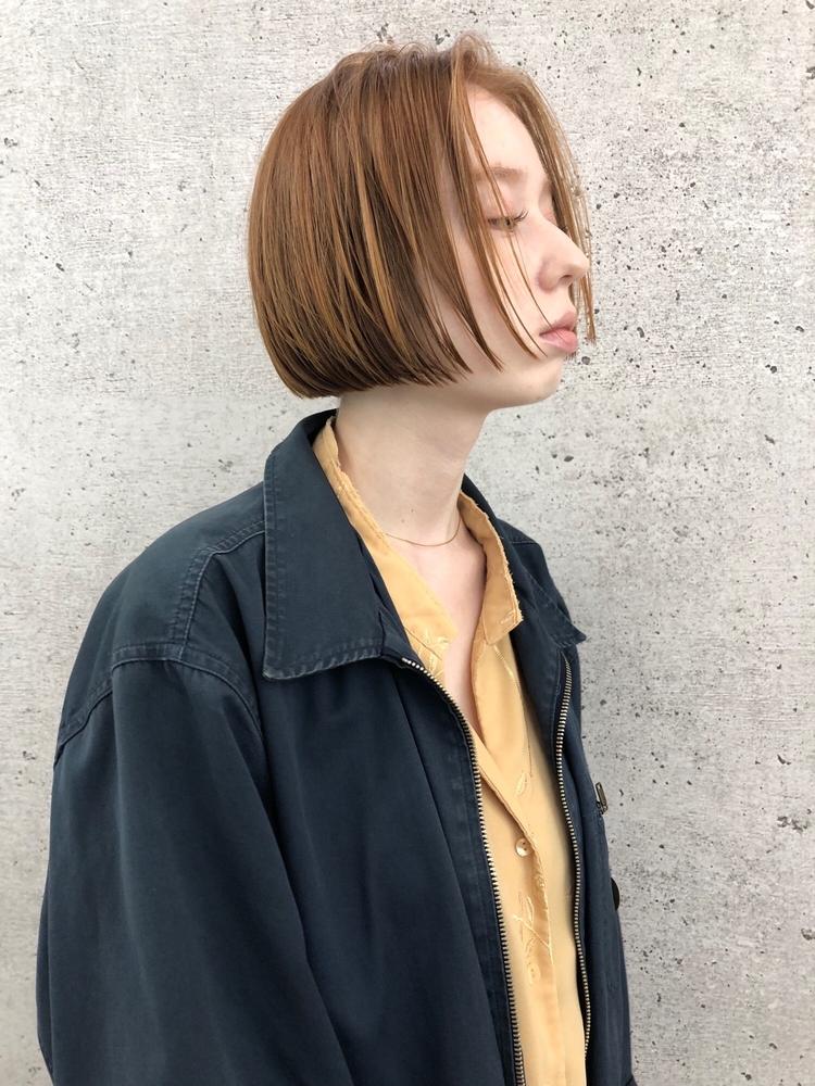 ぱっつんミニボブ×ハニーベージュ(iki)