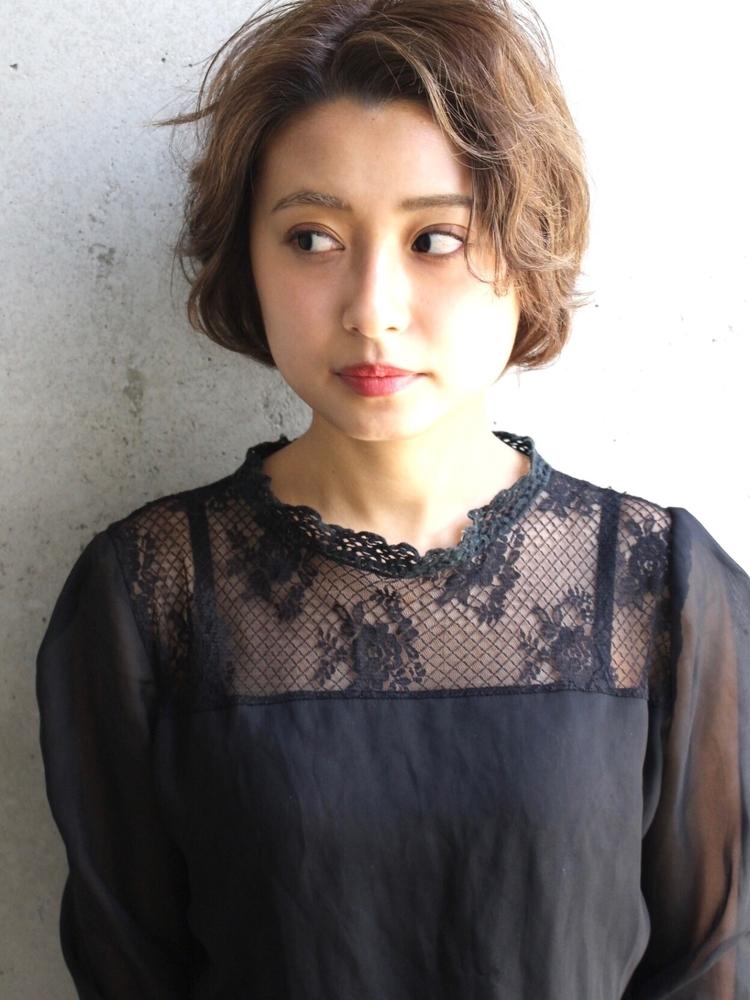 Agnos青山 美髪小顔ネイビーカラーブランジュ黒髪デジタルパーマ
