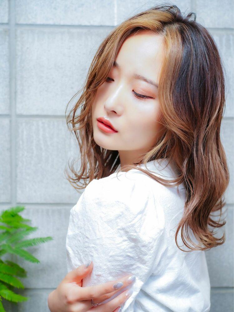 前髪ハイライト+グラデーションカラー