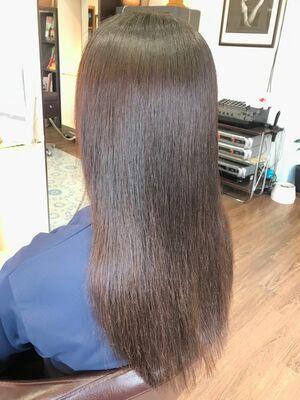 髪質改善ストレートパーマの薬剤塗り分け