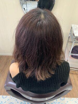 縮毛矯正とヘアカラーの同時施術