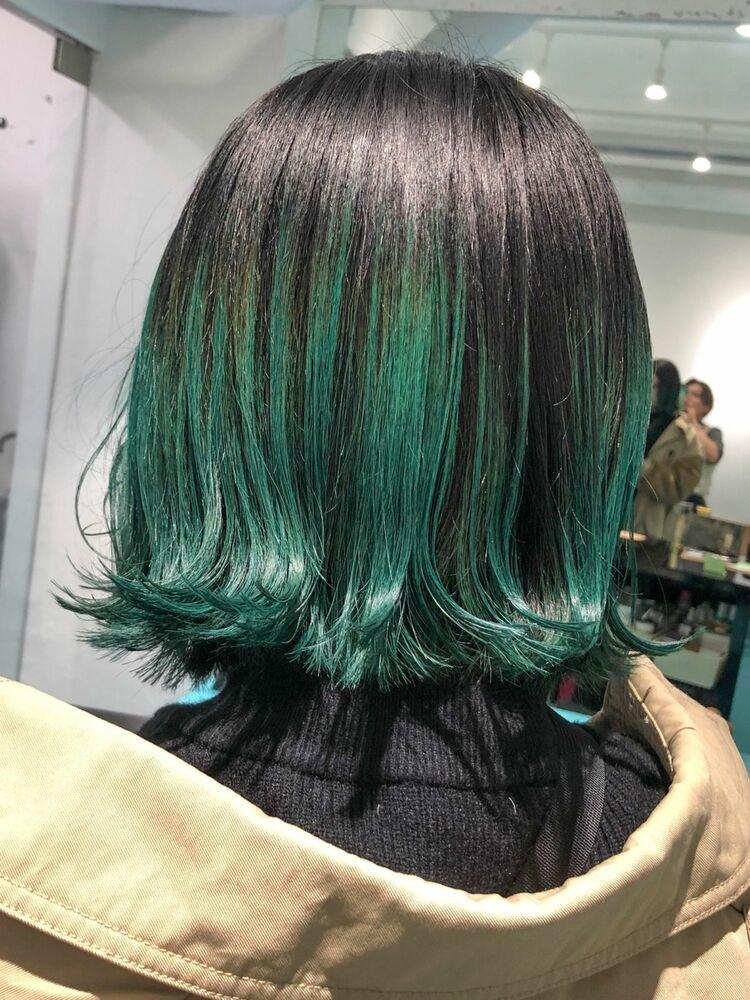裾グリーンカラーボブスタイル!