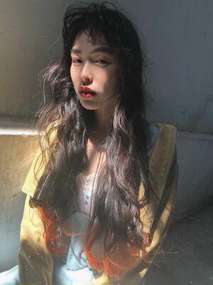 スーパーロング毛先オレンジ裾カラー!