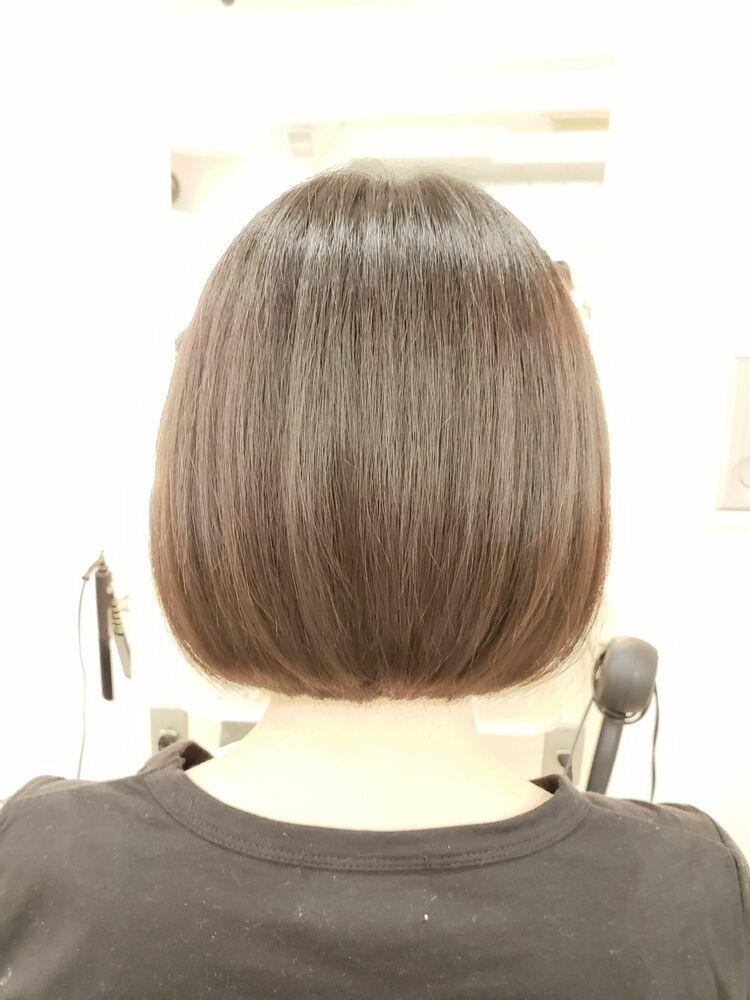 黒髪でもかわいい☆シンプルワンレンボブ☆