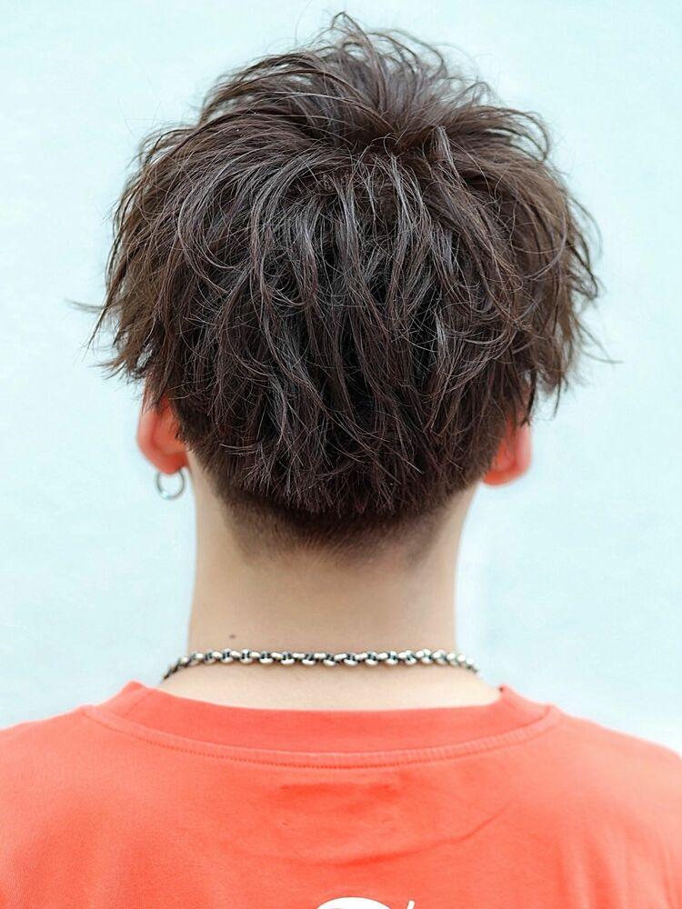 2ブロック 刈り上げ 人気フォルム mixパーマ 前髪重め