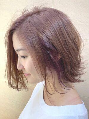 大人可愛い☆インナーカラー 小顔ひし形 毛先パーマ