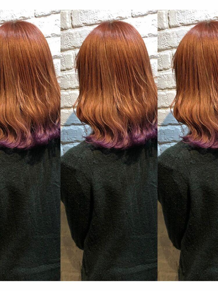 ピンクベージュの裾カラーでパープルに♪