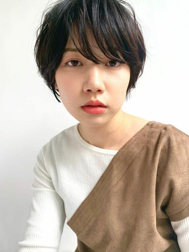 MINX青山*本木 大人カッコいい 黒髪ショートパーマ ひし型マッシュショート