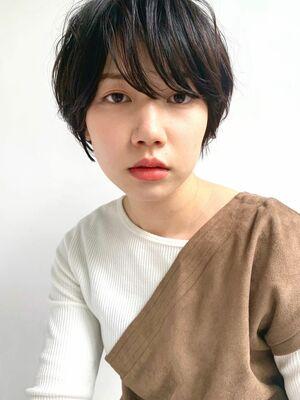MINX青山*本木 大人可愛い 黒髪ショートパーマ 黒髪マッシュ