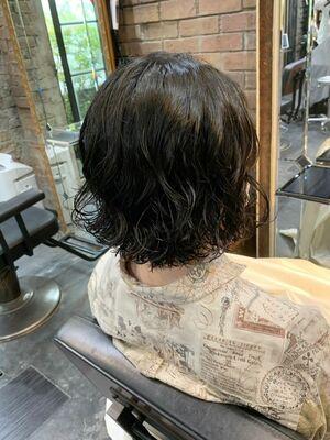 MINX青山店《パーマの達人 本木》ゆるふわウェーブパーマボブ 切りっぱなしボブ 黒髪ショート