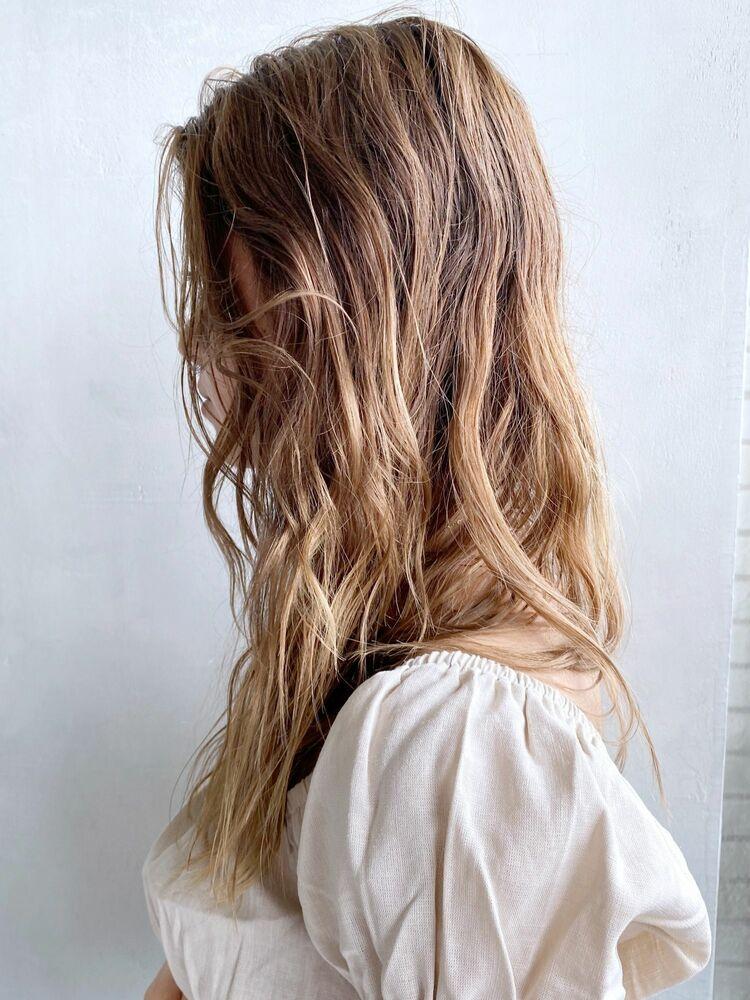 ラフロング_27859★前髪のみ26mmのコテで巻きくせ毛をいかしてウェットスタイリング