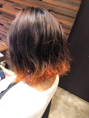 LIBERTY-H 久代雄太切りっぱなしボブ×ビビットオレンジ裾カラー