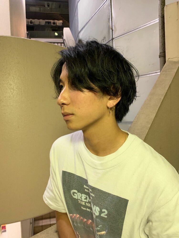 スパイラルパーマ かきあげヘア 田町 理容室 グクパーマ BTS