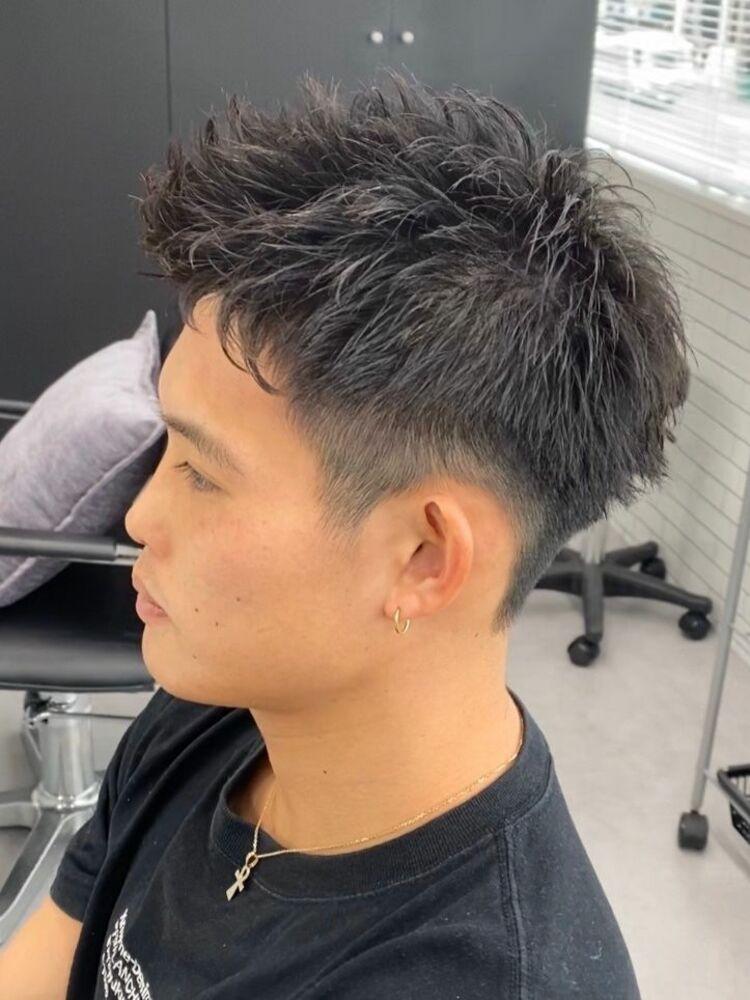 短髪ジェットモヒカン パーマ 大阪梅田メンズパーマ