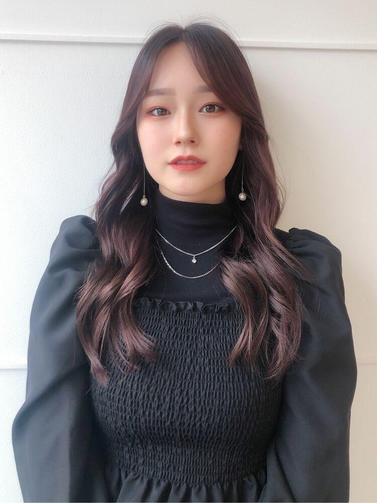 韓国ヘアスタイル×ラベンダーカラー