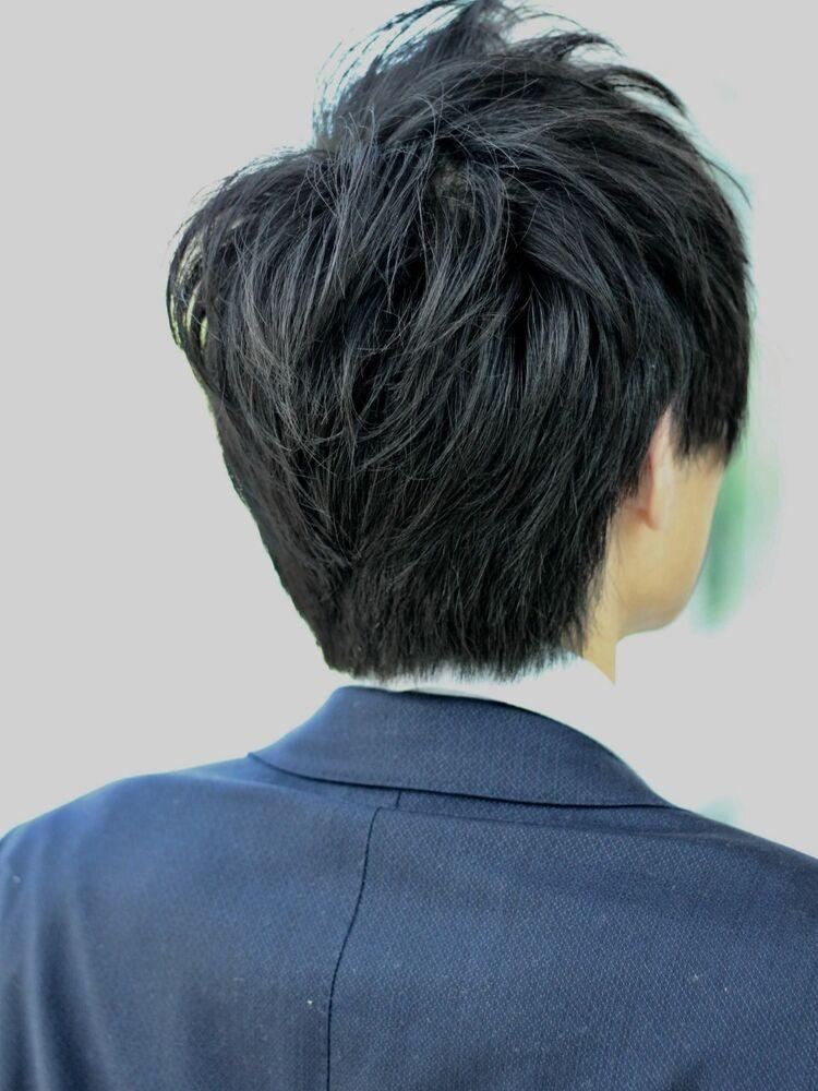 MissEssence甲斐/メンズ ショート ビジネス ウルフ ひし形 シルエット ツーブロック