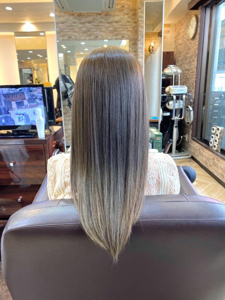 オリーブグレージュのグラデーション&髪質改善で艶々な美髪♡