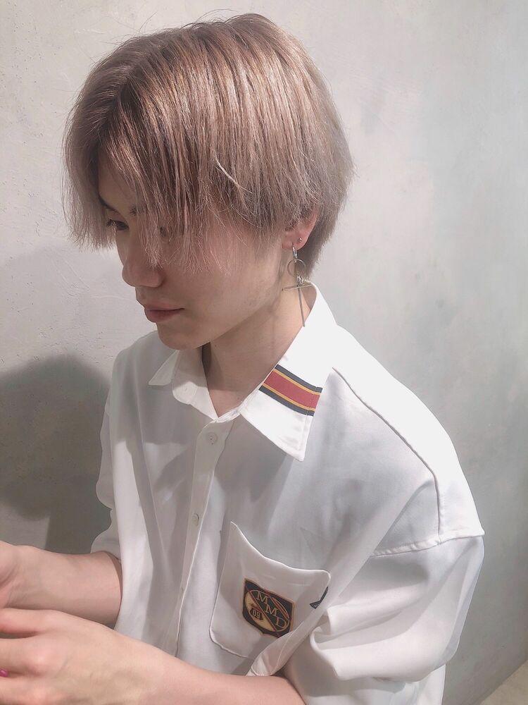 韓国風サラ髪ピンクティーベージュ