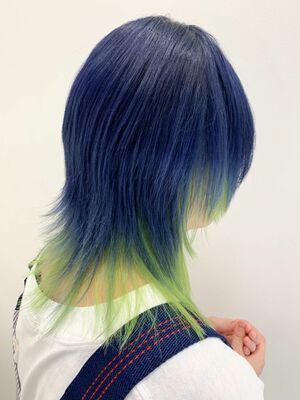 ネオングリーン×ブルーウルフ