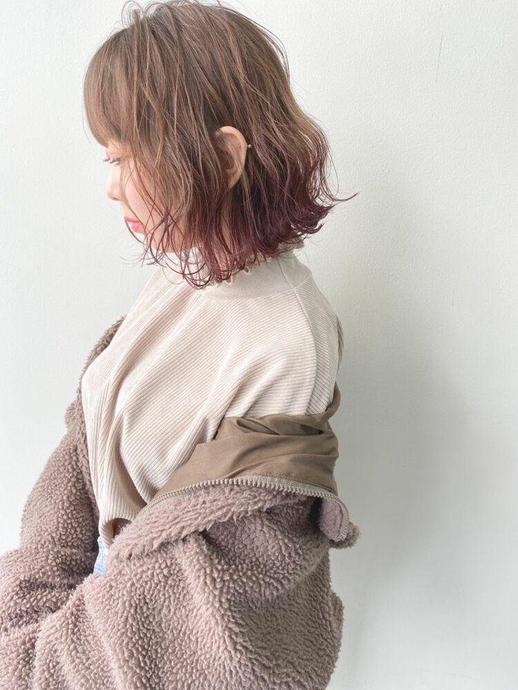 切りっぱなしボブ 裾カラー