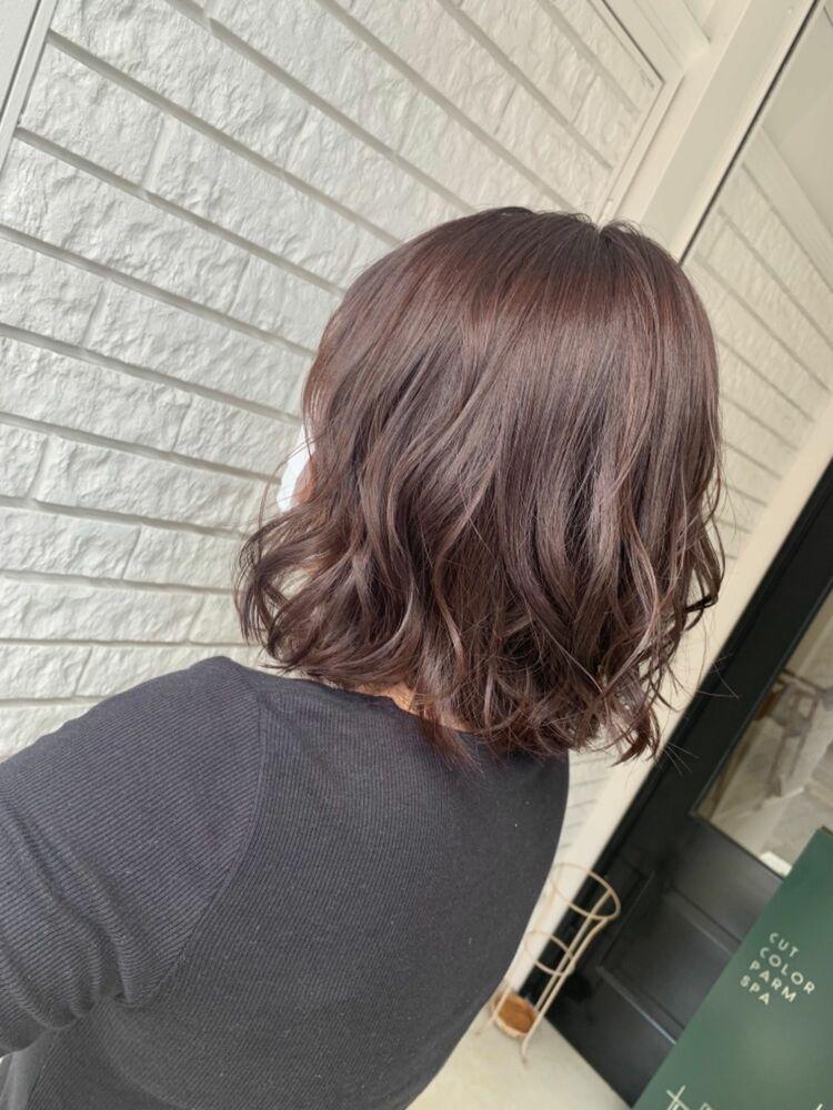 艶髪ピンクブラウン×ボブ